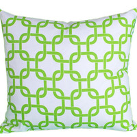 Geometric Trellis Pillows Apple / Lime Green by PillowThrowDecor