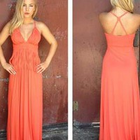 Coral Maxi Dress with V-Neckline and Fringe Top Detail