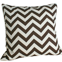 Brown and Cream Designer Chevron Pillows by PillowThrowDecor