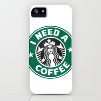 STARBUCKS - I need a coffee! iPhone & iPod Case by John Medbury (LAZY J Studios)