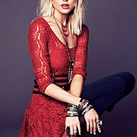 Free People Long-Sleeve Lace Dropwaist Dress