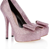 Dolce & Gabbana Crystal-embellished satin pumps – 65% at THE OUTNET.COM