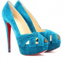 mytheresa.com -  Christian Louboutin - ABORINA 150 SUEDE PEEP-TOE PLATFORM PUMPS  - Luxury Fashion for Women / Designer clothing, shoes, bags