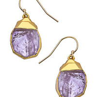 Janna Conner Designs Gold and Amethyst Nugget Teardrop Earrings - Max & Chloe