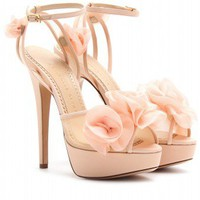 mytheresa.com -  Charlotte Olympia - FLEUR PLATFORM SANDALS WITH ORGANZA FLORAL EMBELLISHMENT  - Luxury Fashion for Women / Designer clothing, shoes, bags