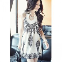 Bohemian Totem Print O Neck Tank Sleeveless White Cotton A Line Mini Dress