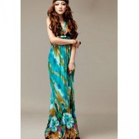 Bohemian Floral Print V Neck Sleeveless Green Silk Beach Ankle Length Dress