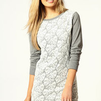Amelia Lace Overlay Sweat Dress