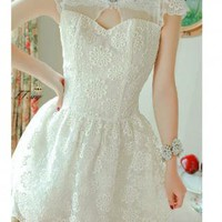 Vintage Pearl Embellished Lace Dress