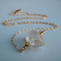 Herkimer Diamond Quartz Necklace in Gold Perfect by 443Jewelry