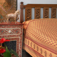 Indian Summer ~ Orange Paisley Exotic Sari Print Queen Bedspread