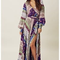 Blu Moon 70&#x27;s Style Four Slit Dress
