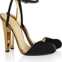 Gucci|Metallic leather and suede sandals|NET-A-PORTER.COM