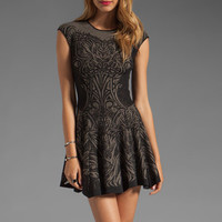 RVN Tattoo Lace Jacquard Flared Dress in Black/Nude from REVOLVEclothing.com