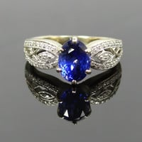 Amazing White Gold Modern Filigree Diamond and Blue Ceylon Sapphire Ring - RGSA120P