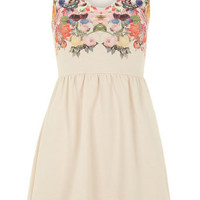 19Nineteen Nude floral V neck dress