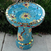 Mosaic Bird Bath Sunflowers