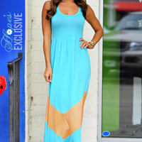 HOPE&#x27;S: Chevron Maxi Dress: Teal/Peach | Hope&#x27;s