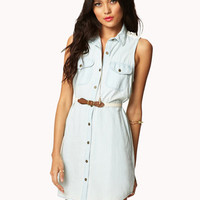 Crocheted Denim Shirt Dress w/ Belt | FOREVER 21 - 2048471199