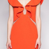 Orange crush ruffle dress