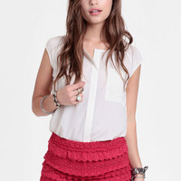 Free For All Crocheted Shorts In Red By Raga - $52.00 : ThreadSence, Women&#x27;s Indie &amp; Bohemian Clothing, Dresses, &amp; Accessories