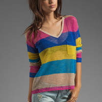 C&amp;C California Linen Cotton Mesh Stripe Long Sleeve V-Neck Box Tee in Mirage from REVOLVEclothing.com