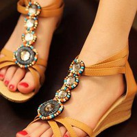 Ladies Rhinestone Wedge Heel Summer Sandals Shoes In YELLOW from NaomiShu