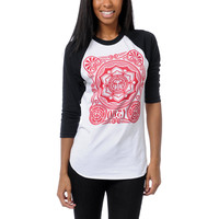 Obey Girls Peace Poster White &amp; Black Baseball Tee Shirt