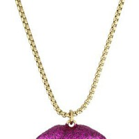 Betsey Johnson Glitter Lips Pendant Necklace