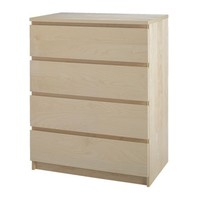 MALM 4-drawer chest, birch veneer - 80x100 cm - IKEA