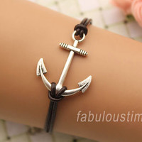 anchor bracelet,retro silver unique anchor pendant bracelet,brown true leather bracelet---B314