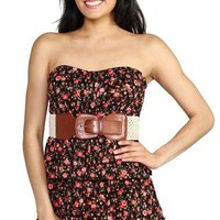 strapless dress with floral print, waist belt and tiered skirt - 1000046437 - debshops.com