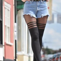 Retro NEW knee high 3 hoop tights socks 1226 from Gone Retro