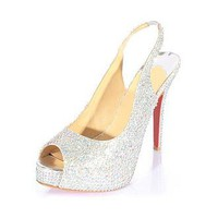 [79.99] Stunning Sheep Leather Silver Stiletto Heel Pumps Peep Toe Bridal Party /  Evening Shoes  - Dressilyme.com