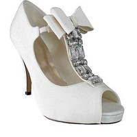 [69.99] Gorgeous White PU Leather Rhinestones High Heel Peep Toe Wedding Shoes With Bowknot - Dressilyme.com
