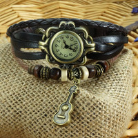 West Guitar Pendant Wrap Bracelet  Watch