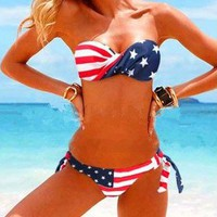 Flag Stars Stripe Strapless Padded Bikini