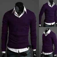 New Casual Vogue Men's V-neck Sweater Blouse Slim Men Bottoming Shirt S M L XL