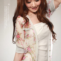 NEW Floral Chiffon 1/2 Sleeve Botton Down Shirt Tops fC