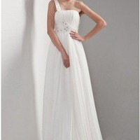 Simple elegant One Shoulder Chiffon Wedding Dress