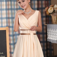 FREE SHIPPING lady bride short design bridemaid dress skirt champagne color v - neck formal &amp; short skirt marriage design wedding dress