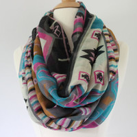 Chunky MuiltiColor Chevron Scarf- MultiColor Zig Zag Infinity Scarf - Pink Loop Scarf, Circle Scarf - Handmade Women&#x27;s Accessory