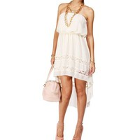 Strapless Lace Chiffon Hi Lo Dress