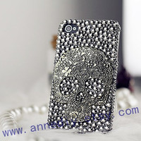 crystal iphone 4s cases,flower skull iphone 5 cases,bling bling iphone 4 case with unique style, birthday gifts
