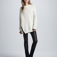 Oversized Cable Knit Pullover & Lambskin Leather Wader Pants