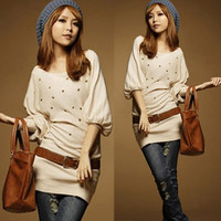 Fashion Womens Batwing Sleeve Hip-length Round Neckline Loose T-shirts Tops vU
