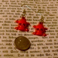 Red Skull Dangle Pierced Womens Earrings