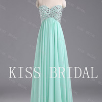 A-line Sweetheart Sleeveless Floor-length Chiffon Prom Dress With Paillette Beading Free Shipping