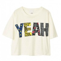 White Crop Top with &#x27;YEAH&#x27; Print