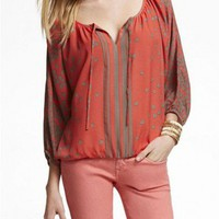 Batwing Sleeves Chiffon Blouse with Self-tie Front